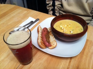 Beer Cheese Soup and Grilled Bratwurst
